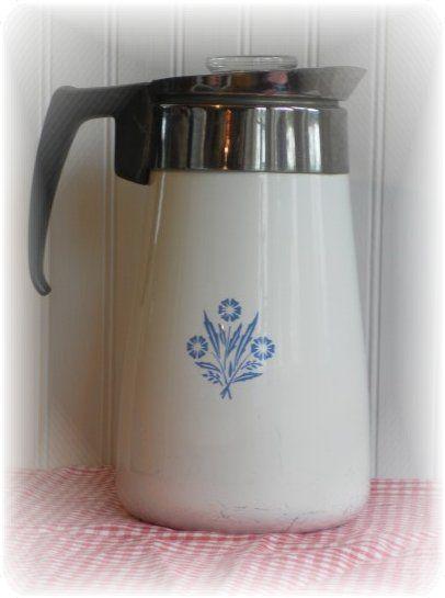 Vintage Corning Ware Cornflower Blue 9 Cup Stovetop Percolator Coffee Pot