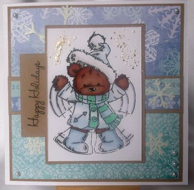 Christmas card with lili of the valley stamp (James the bear).
