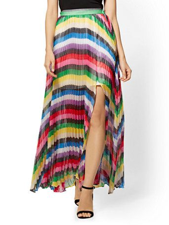 545afeec2 Shop 7th Avenue - Rainbow-Stripe Pleated Maxi Skirt. Find your perfect size  online at the best price at New York   Company.