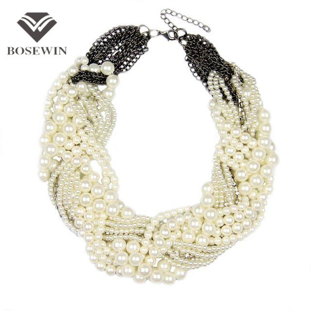 281c22b7e7a6 Manilai mujeres handmade chunky collar de perlas de imitación de moda collar  de diamantes de imitación gargantillas collares joyería declaración bijoux