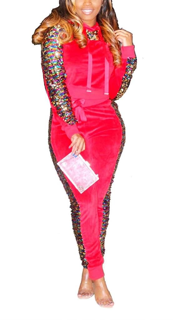 df8bc77f4144 Women 2 Piece Outfit Sequin Glitter Stitching Fleece Velvet Pullover Hoodie  and Long Pants Tracksuits Jumpsuits