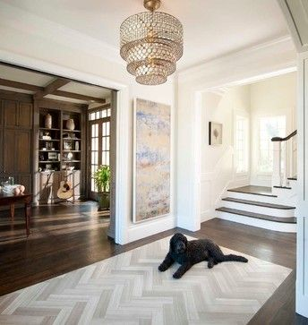 Herringbone Tile Rug Inlay Surrounded By Dark Hardwood Floors Perfect For