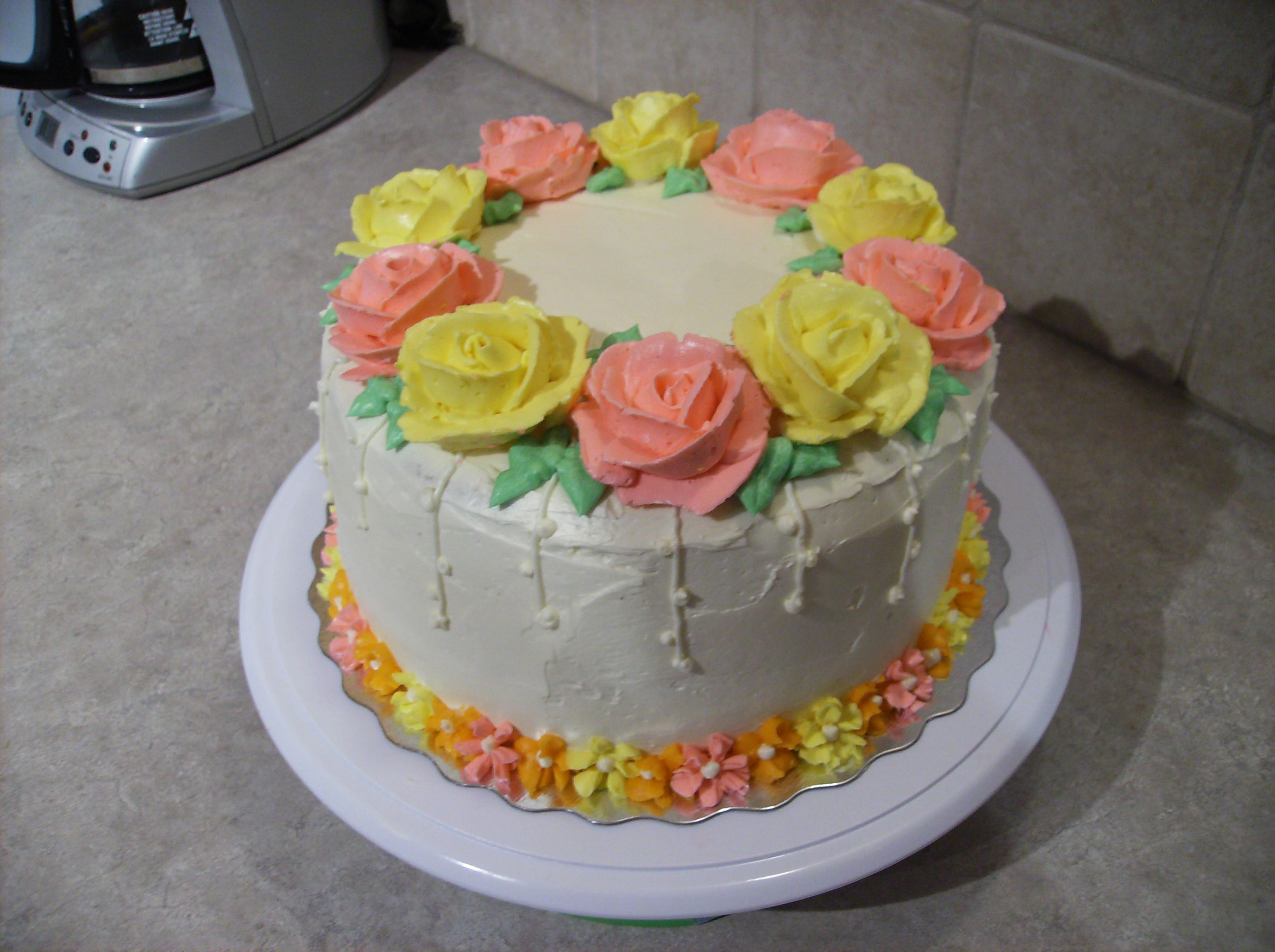 Buttercream Rose Birthday Cake Birthday cakes Cake and Frosting
