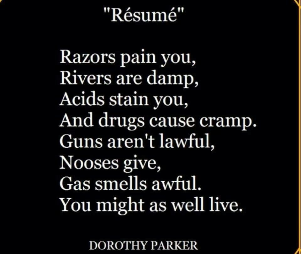 Pin by Rebecca Tilly on Texter Pinterest - resume by dorothy parker