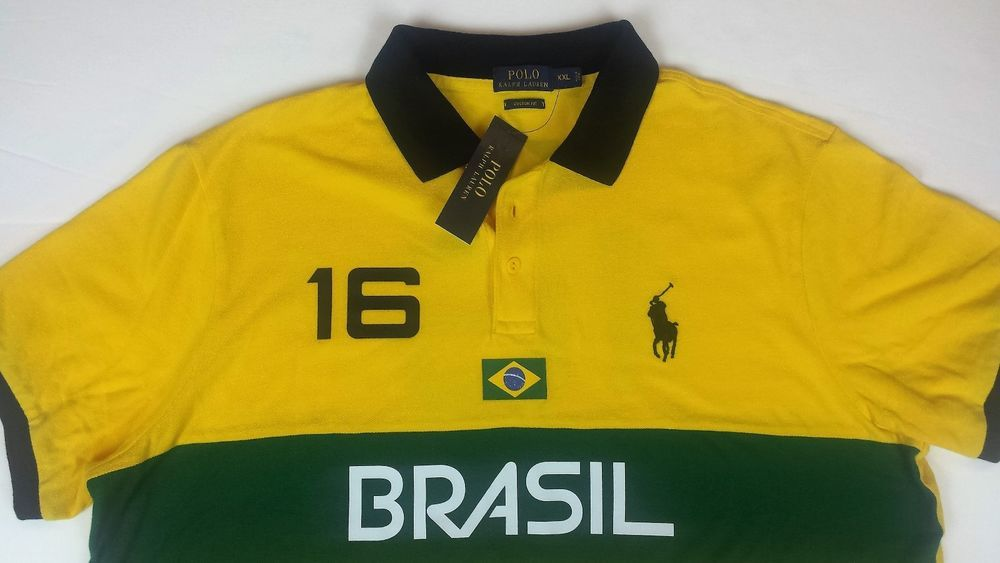 Polo Ralph Lauren Men Custom Fit Brazil Flag Version 16 Casual Shirts 2xl Xxl Polo Ralph Lauren Casual Shirts Polo Ralph Lauren Mens