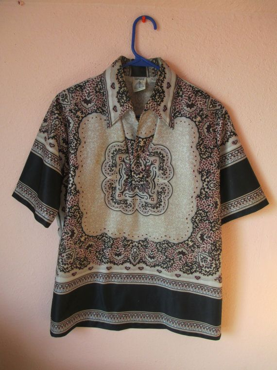 VTG 70's 80's Black Barooque Ornate Style by #NIGHTWERKKVINTAGE, $42.00 #BAROQUE #SCARFPRINT #CLOTHING #VINTAGE #SHIRT #MENS #FASHION