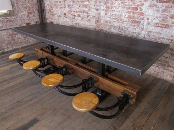 kitchen table with attached stools and galvanized metal top also swing arm stool hardware around of kitchen table with attached stools and galvanized metal top also      rh   pinterest com