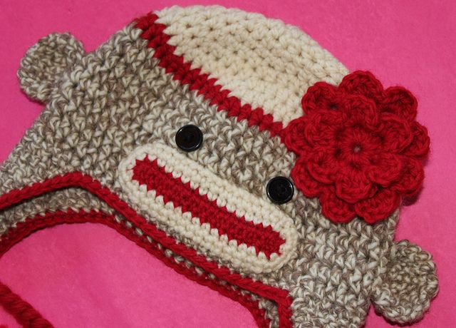 Free Crochet pattern for the Flower on Ravelry | Crochet monkey hat ...