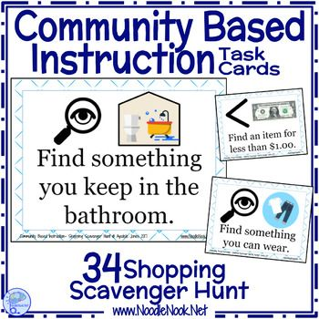 Cbi Shopping Scavenger Hunt Task Cards Special Education