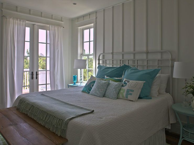 Bedrooms Iron Bed Nightstand Rattan Turquoise Aqua Beachy Coastal Batten Board Walls
