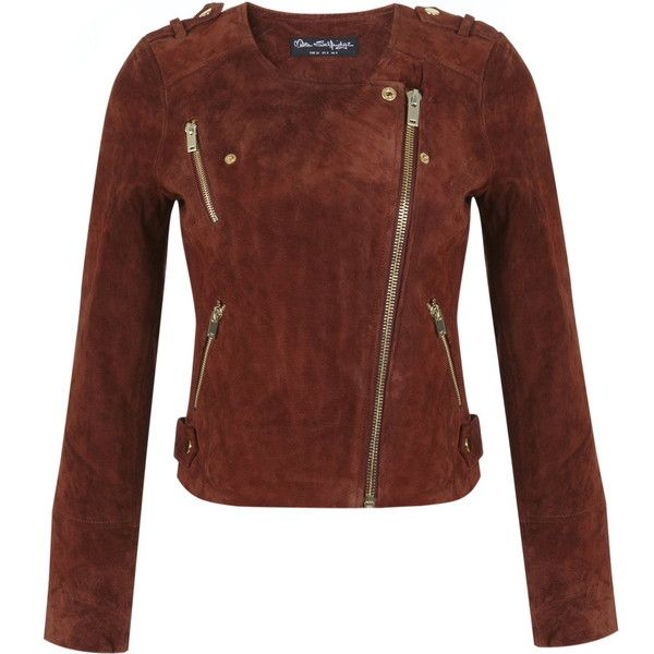 select for newest discover latest trends size 7 Miss Selfridge Rust Suede Collarless Jacket ($167) ❤ liked ...