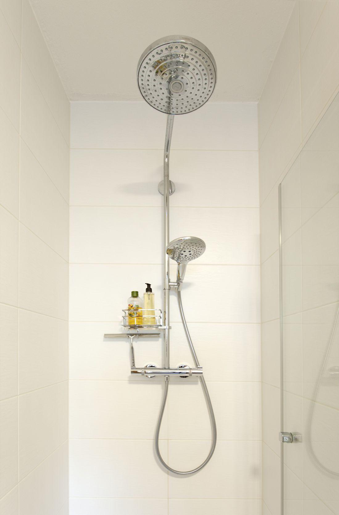 Frei begehbare Dusche mit Glasflügeltür und Brausebatterie