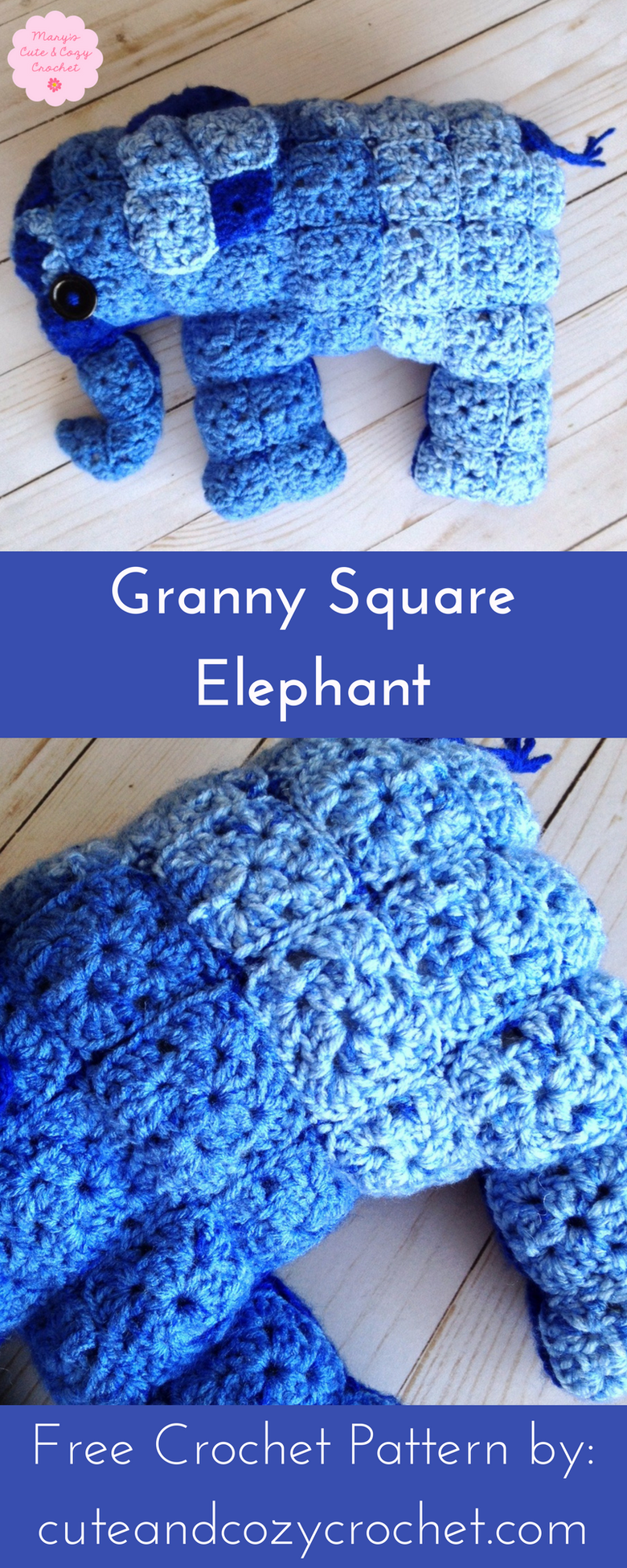 Granny Square Elephant | Häkeltiere, Häkeln und Elefanten