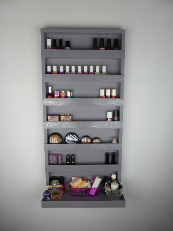 Grey Nail Polish Rack With Silver Glitter Makeup Organizer Bathroom Storage Wall Hanging Bea Makeup Storage Wall Silver Glitter Makeup Nail Polish Rack