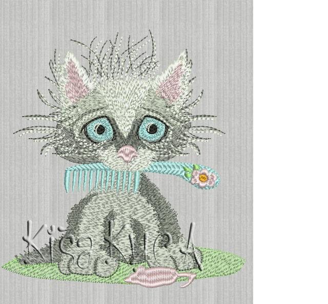 Cute Kitty Free Embroidery Design Cartoon Free Embroidery