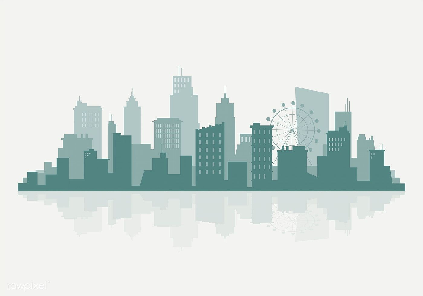 Green And Beige Silhouette Cityscape Background Vector Free Image By Rawpixel Com Aum City Vector City Silhouette Cityscape