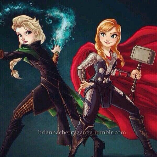 Elsa as Loki and Anna as Thor. YES!