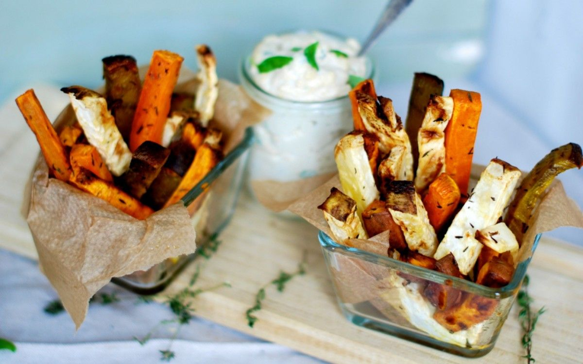 Roasted Root Fries With Cheesy Dip [Vegan]   One Green Planet