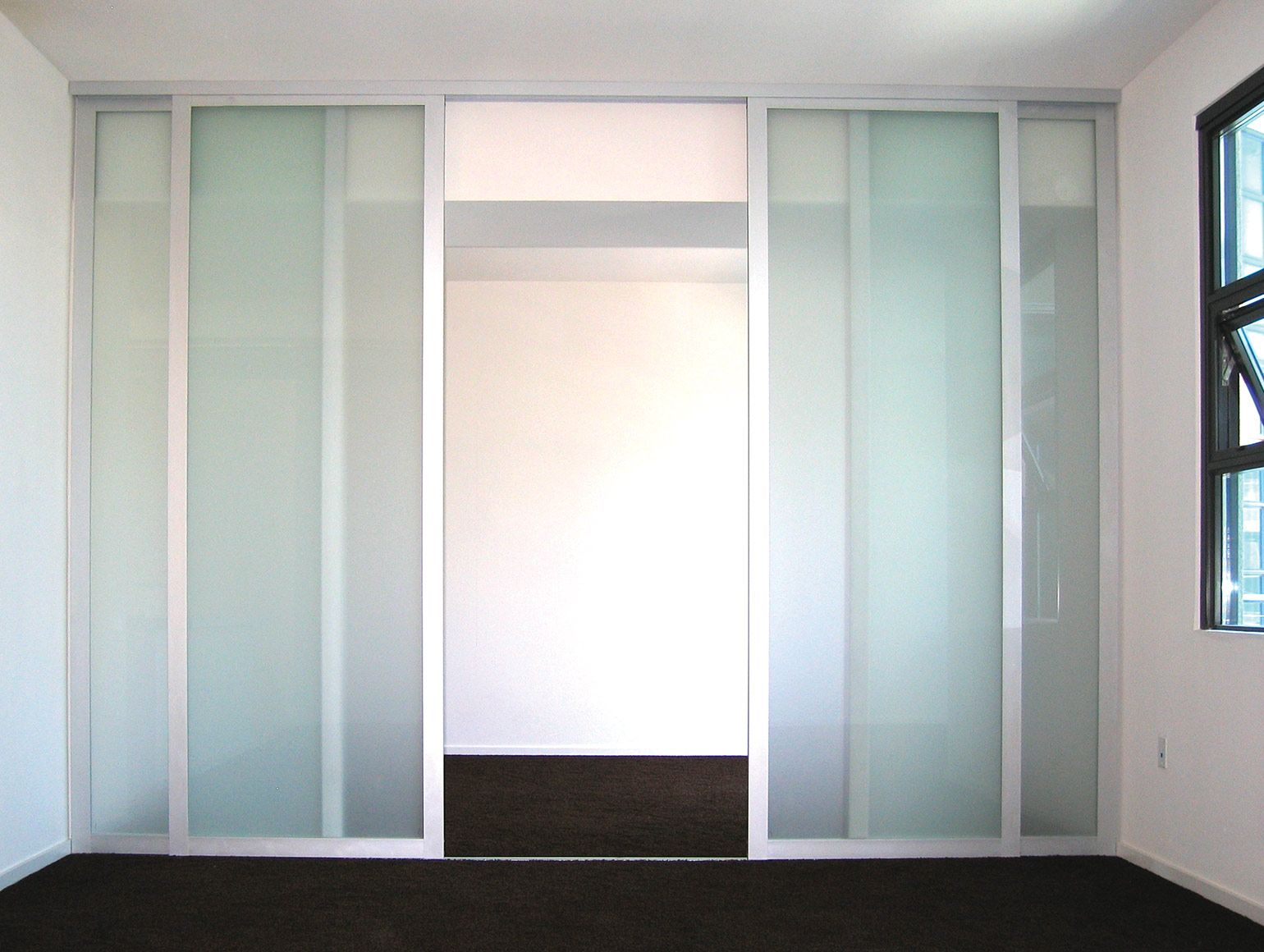 Frosted glass room dividers easily divide one room into two rooms. Double  sliding glass doors Installed with silver frame finish. Made by The Sliding  Door ...