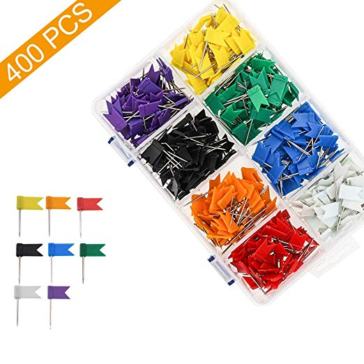 Amazon Com Colored Flag Travel Map Push Pins Coideal 400 Pack Multicolored Decorative Map Tacks Plastic Head With Ste In 2020 Push Pin Map Map Decor Picture Hanging