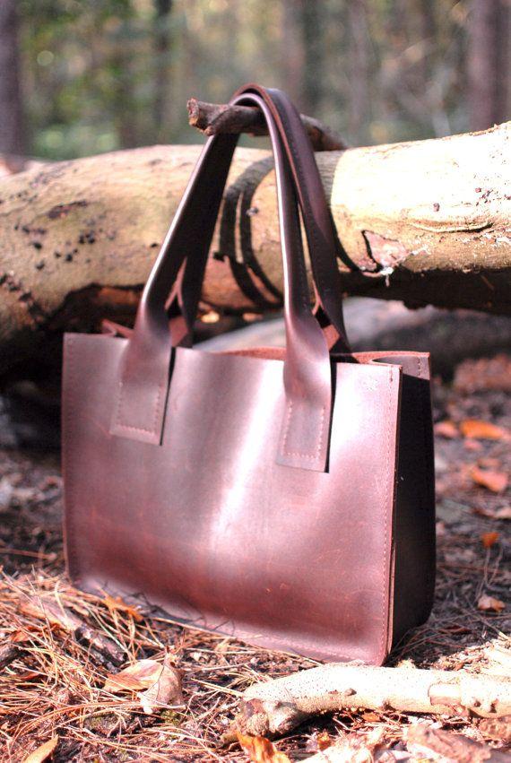 Handgemaakte Shopper van Heavy Runderleer Handmade Leather