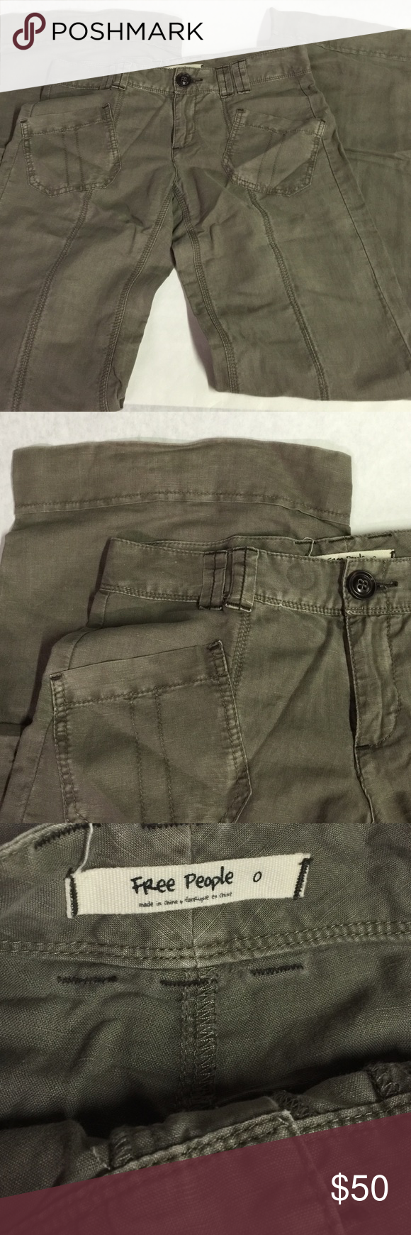 Free People pants Free People pants. Great condition. Selling for a friend. Army green or so in color. Linen Cotton blend. Free People Pants Wide Leg