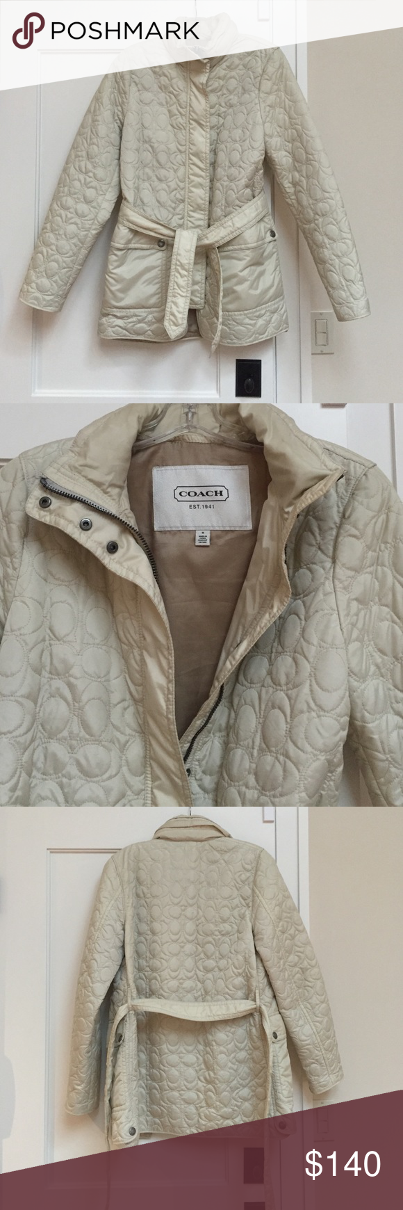 Coach ivory jacket Very cute and versatile ivory Coach jacket. Light puff with C symbols. Size  M Coach Jackets & Coats Puffers