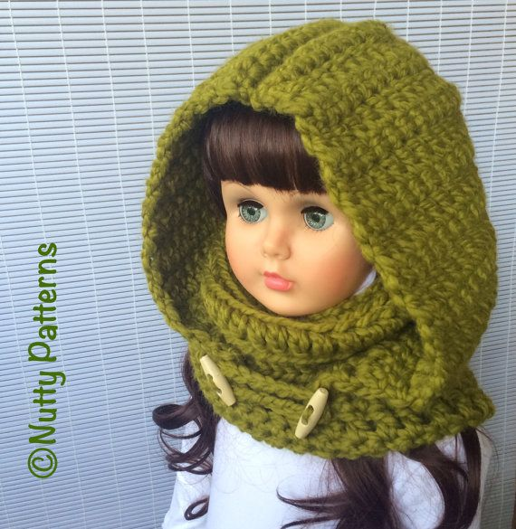 Crochet Patterns Montana Hood with Cowl Instant by nuttypatterns ...