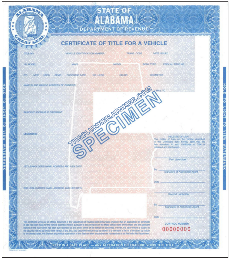 This page covers how to get a title in Alabama Car