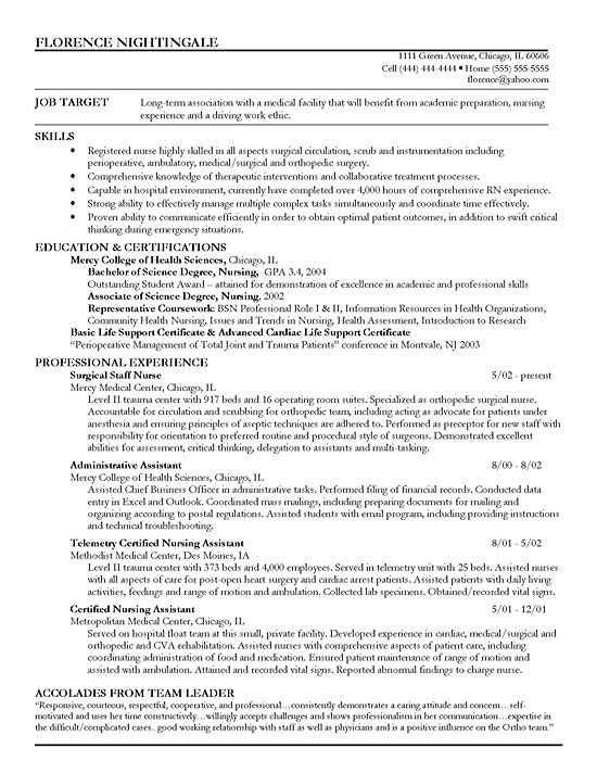 Staff Nurse Resume Example Sample resume, Registered nurse - allied health assistant sample resume
