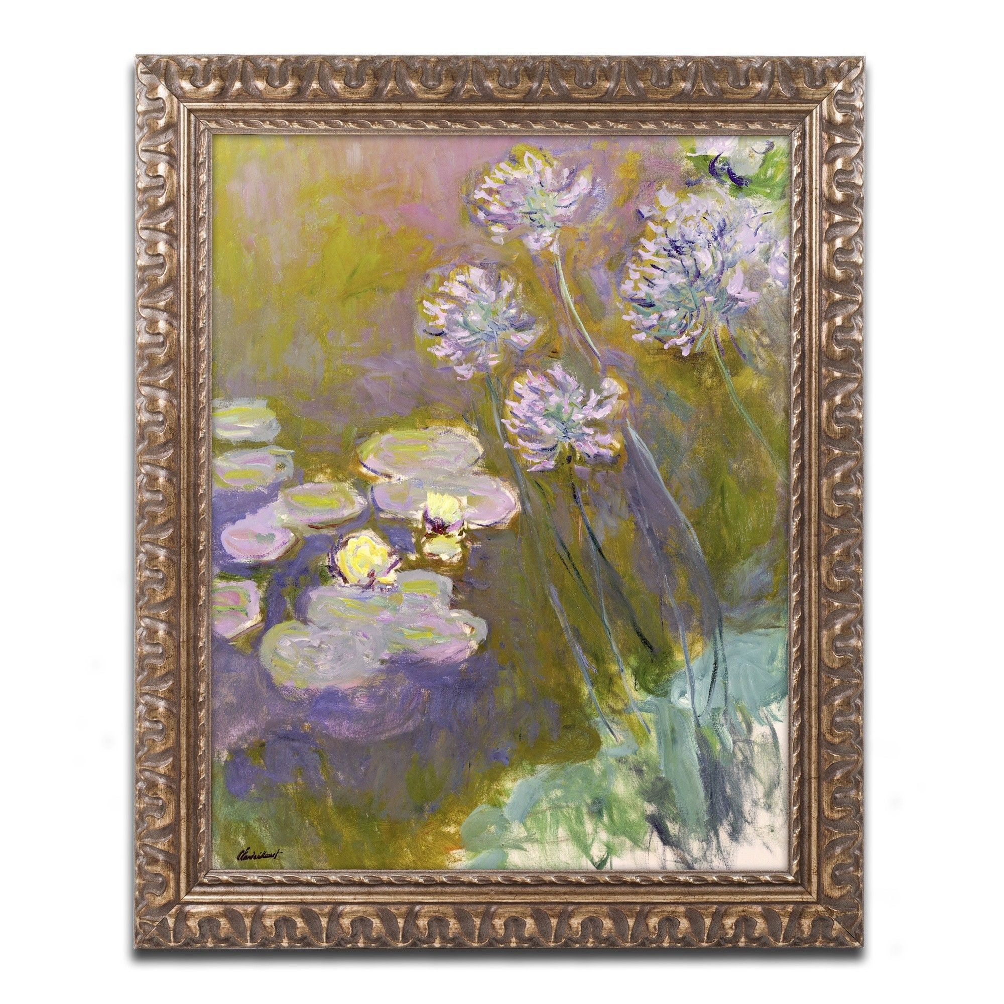 Waterlilies and Agapanthus by Claude Monet Framed Painting Print