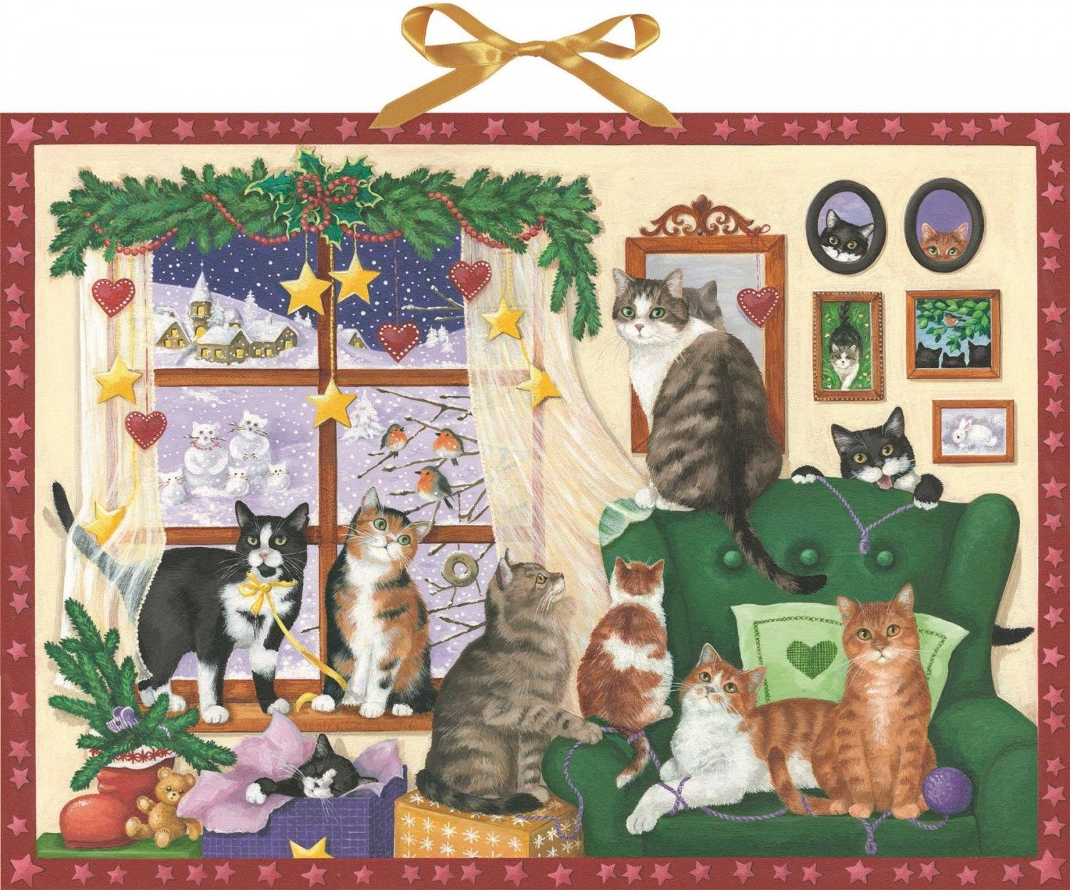 Deluxe Traditional Card Advent Calendar Large House Cats