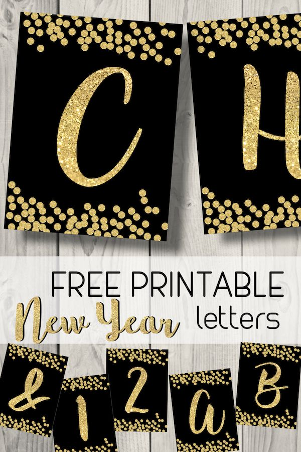 Free Printable Happy New Year Banner Letters Paper Trail