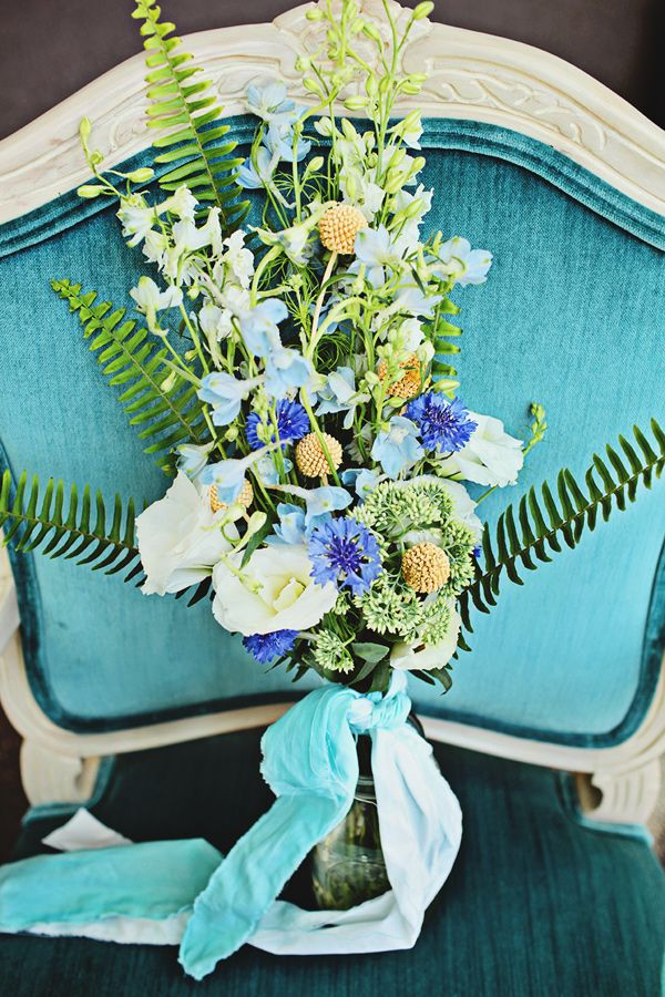 blue, green, and yellow bouquet, photo by Poppy La'Rue Photography & Design http://ruffledblog.com/notwedding-athens #flowers #weddingbouquet