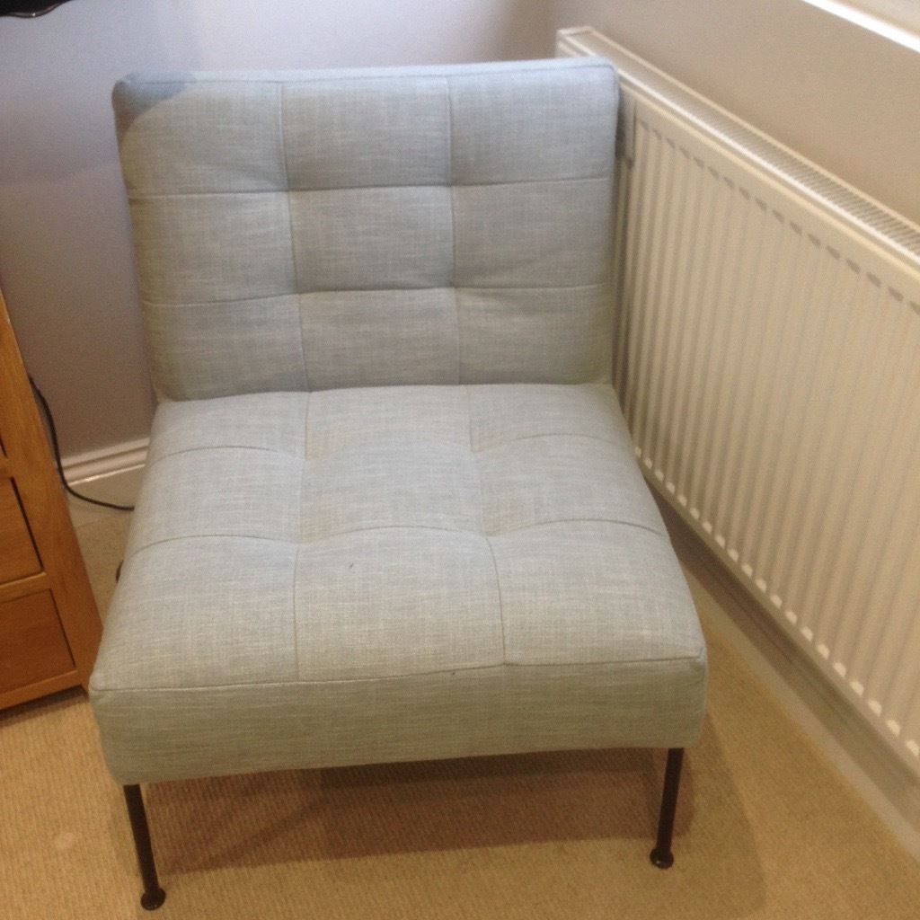 Leather slipper chair west elm - Brand New West Elm Oswald Tufted Slipper Chair In Pale Blue