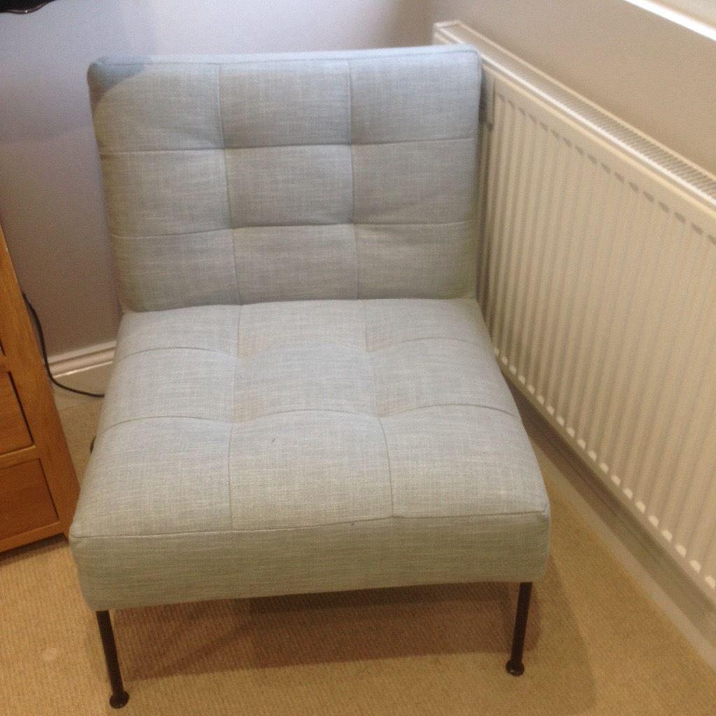 Blue tufted slipper chair - Brand New West Elm Oswald Tufted Slipper Chair In Pale Blue