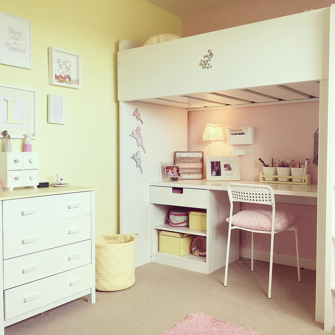 Yellow And Pink Girls Bedroom Ikea Bunk Bed Yellow Girls Room
