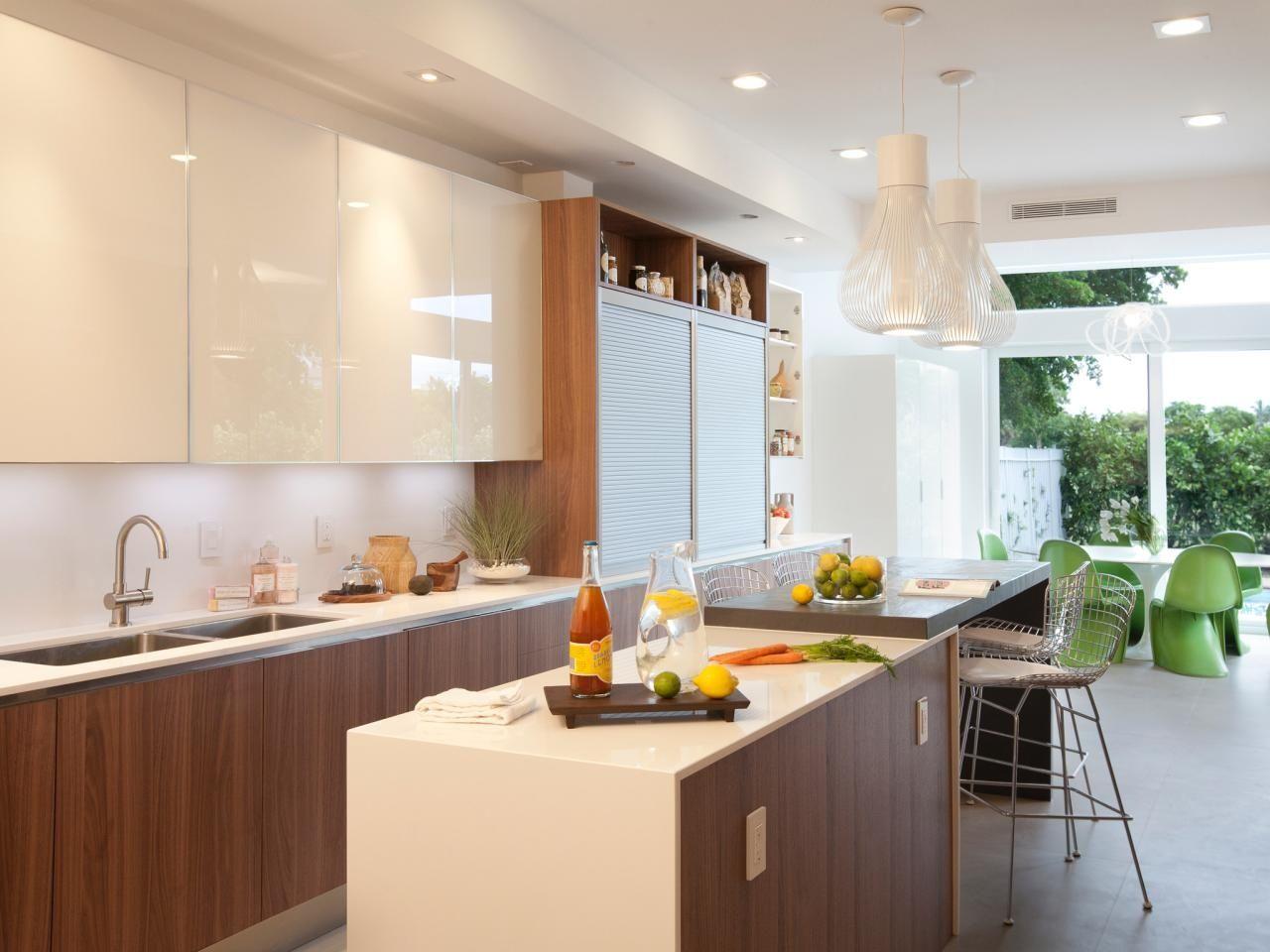 Mid Century Modern Galley Kitchen Beverage Serving Range Hoods Modern Kitchen Miami Small Apartment Kitchen Kitchen Cabinet Design