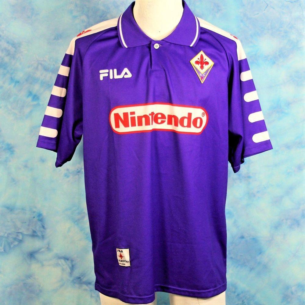 57d551a7b29 Fiorentina ACF FILA Nintendo Soccer Jersey Vintage 90s Size Large Purple  RARE #Fila #FiorentinaACF