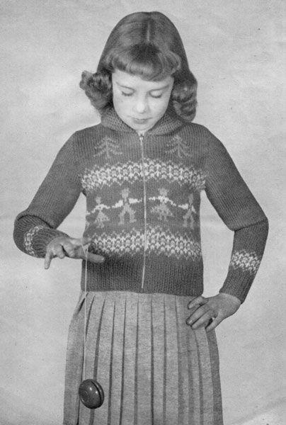 Patons 418-1 Zip front Christmas children's jumper ...