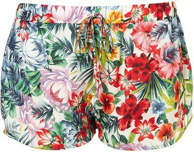 Topshop Tropical Floral Print Shorts