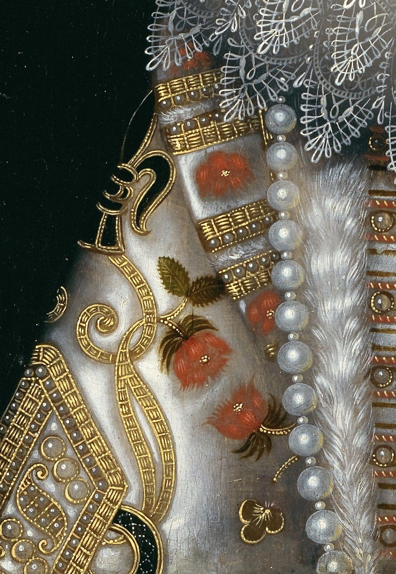 Isabelle d'Espagne - Frans Pourbus le Jeune - as pérolas estavam omnipresentes nas peças de Joalharia deste período