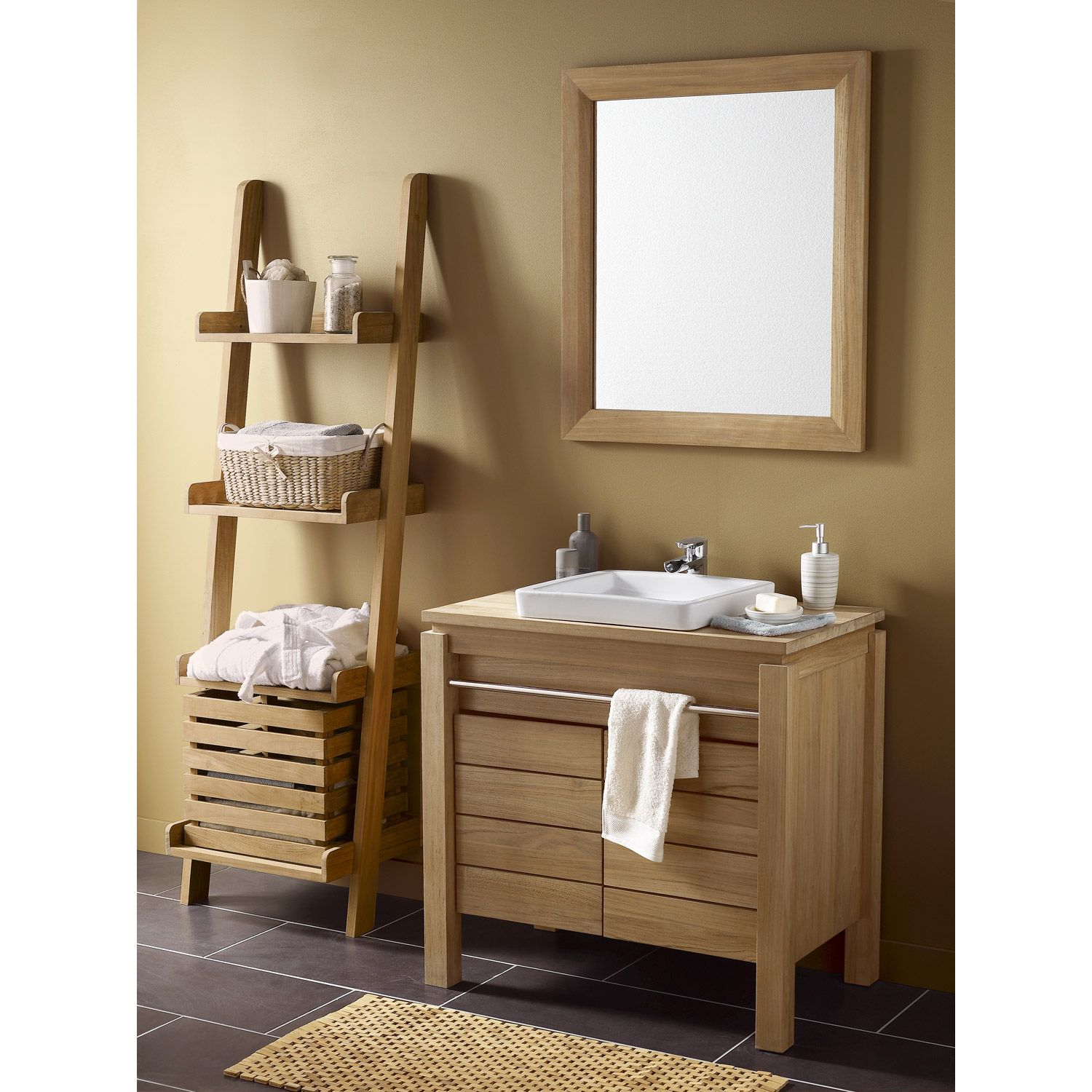 Meuble de salle de bains teck naturel born o marron for Carrelage passion