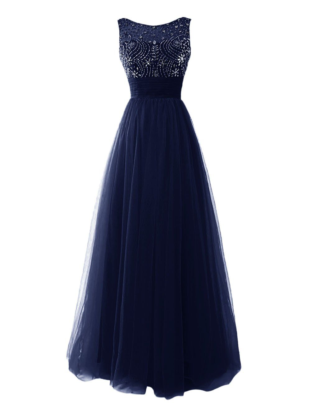 Dresstells Women\'s Long Tulle Evening Gown Prom Dress with Beads ...