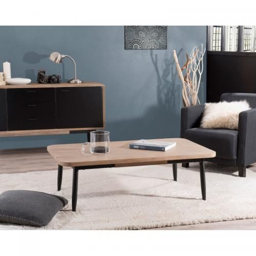 Table Basse Rectangulaire 120 X 70 Cm Esprit Atelier Chene Clair Ceruse En 2020 Table Basse Rectangulaire Table Basse Table Basse Contemporaine