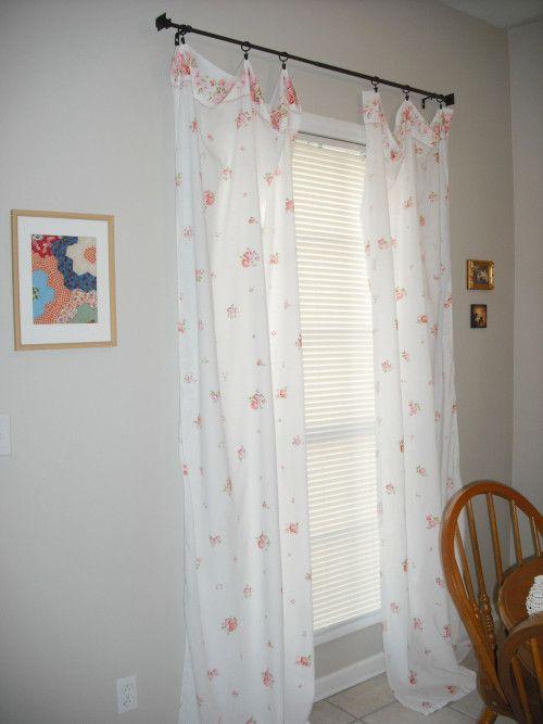 Diy No Sew Vintage Sheet Curtain Tutorial Diy Curtains No Sew Curtains Sheet Curtains