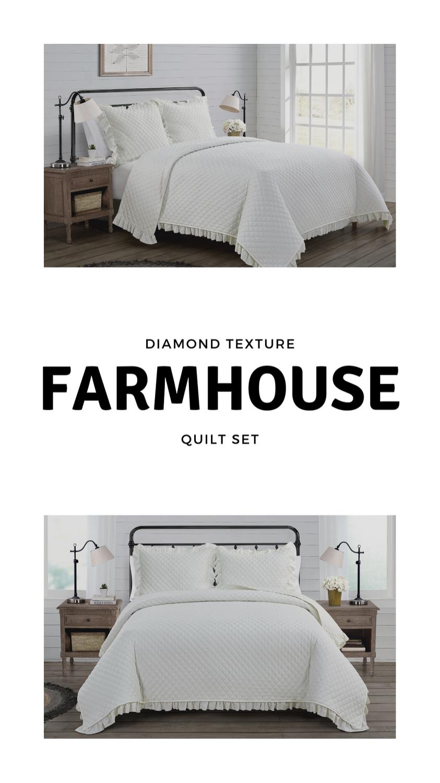 VCNY Home Farmhouse Savannah Solid Ruffle Quilt Set, King