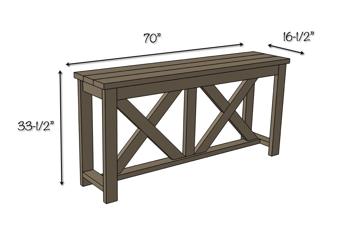 Diy X Brace Console Table Free Plans Rogue Engineer Bar Height