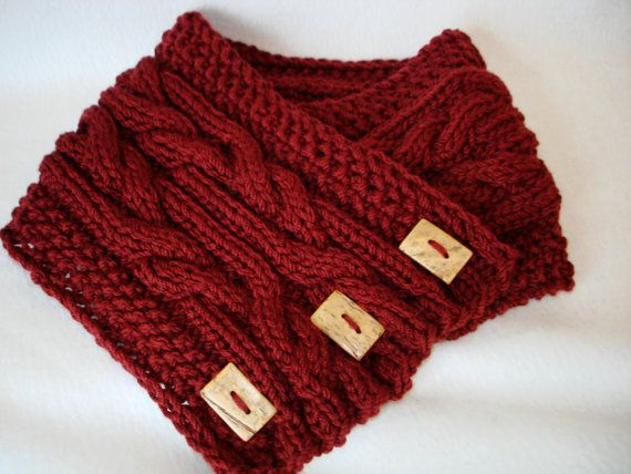 Knitted Scarf with Buttons Chunky Scarf marsala by ...