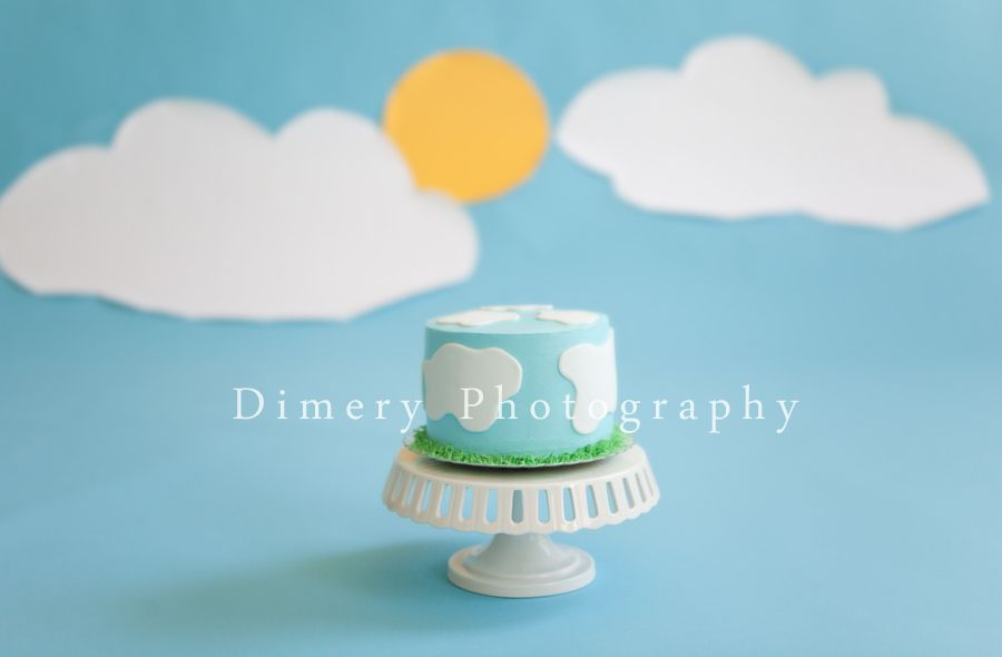 Blue Sky With Sun And Clouds Cake Smash First Birthday Cake
